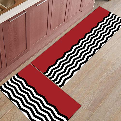 Red Chevron Pattern - Shine-Home 2 Piece Non-Slip Kitchen Mat Rubber Backing Doormat Runner Rug Set, Kids Area Rug Bedroom Rug Red Black Chevron Pattern 19.7'' x 31.5'' + 19.7'' x 47.2''