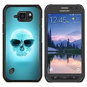 Qstar Arte & diseño plástico duro Fundas Cover Cubre Hard Case Cover para Samsung Galaxy S6Active Active G890A (Cool Blue Sunglasses cráneo)
