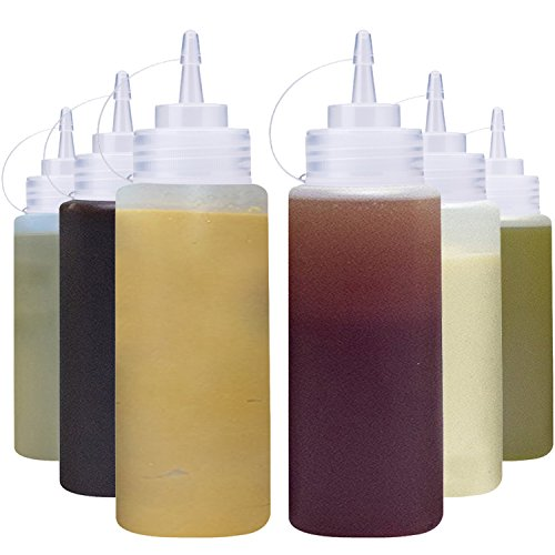 THETIS Homes (6 pack) 16 oz Plastic Squeeze Squirt Condiment Bottles with Twist On Cap Lids - Perfect For Syrup, Sauce, Ketchup, BBQ, Condiments, Dressing, Arts and Craft, Workshop, Storage, and More