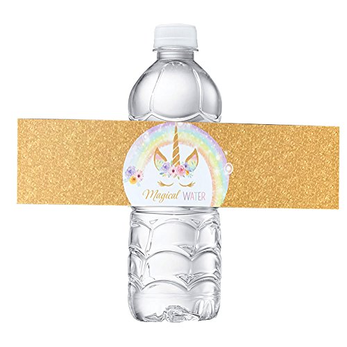 Unicorn Bottle Wraps-Happy Birthday Water Bottle Label Rainbow