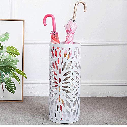 IRONWALLS Umbrella Stand Rack Entryway Holder White with Drip Tray Hooks for Walking Sticks Canes Home Office Decor