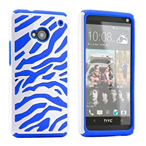 White Blue Dual Layer Zebra Hybrid Hard PC Soft Silicone Back Cover Case for HTC one M7