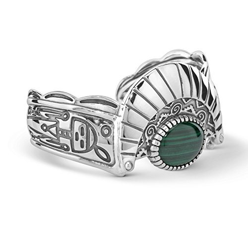 American West Fritz Casuse Genuine .925 Sterling Silver Green Malachite Harvest Moon Cuff Bracelet by American West