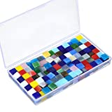 Satinior 400 Pieces/ 250 g Assorted Colors Mosaic Tiles Glass Mosaic with Plastic Box for Home Decoration Crafts Supply, 1 by 1 cm