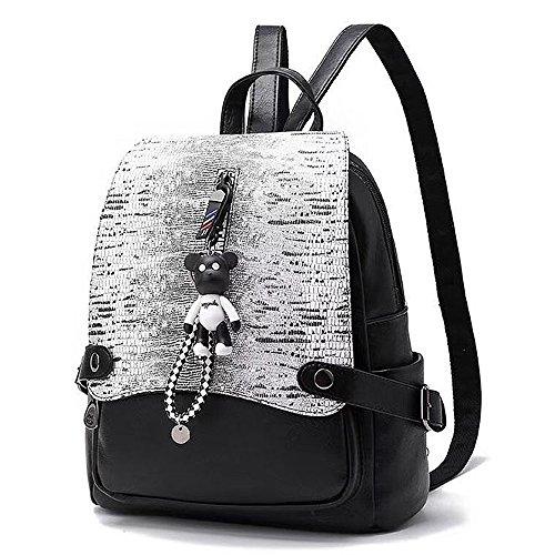 (JVP1073-B3) señoras mochila de cuero de la PU todos los 5 colores de gran capacidad bolsa de viaje de vuelta señoras de moda simple luz popular escuela suburbana Negro 1
