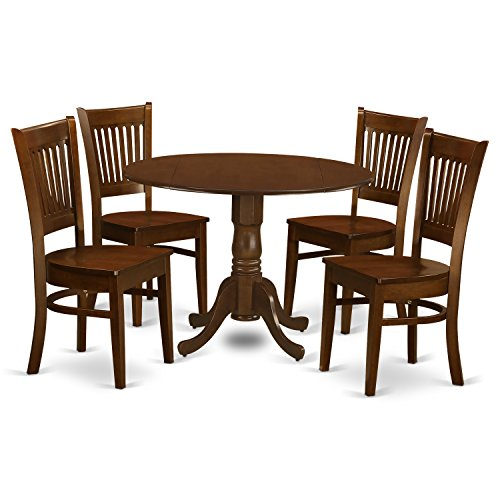 East West Furniture DLVA5-ESP-W 5 Piece Dublin Dinette Table with 2 Drop Leaf 9