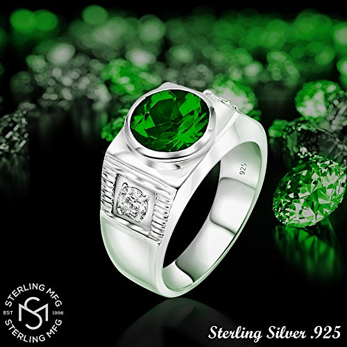 Men's Sterling Silver .925 Ring with Green Round Center CZ Stone and 2 White Cubic Zirconia (CZ) Stones by Sterling Manufacturers (Image #5)