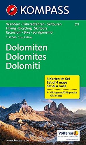 Dolomiten - Dolomites - Dolomiti: Wanderkarten-Set in der Schutzhülle. GPS-genau. 1:35000 (KOMPASS-Wanderkarten, Band 672) Landkarte – Folded Map, 1. Januar 2016 KOMPASS-Karten GmbH 3850269973 Karten / Stadtpläne / Europa physisch