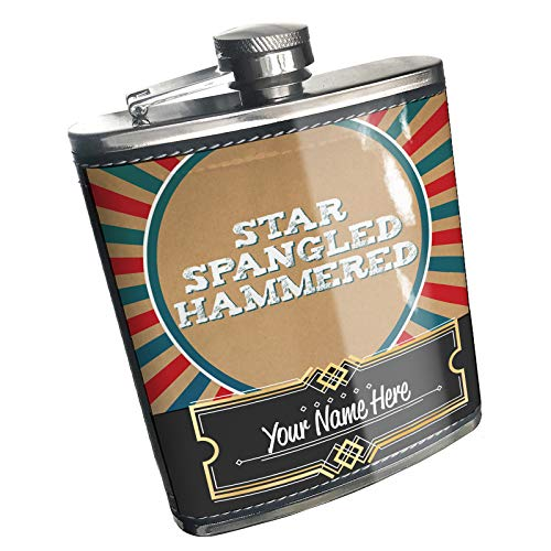 Hammered Design Hip Flask - Neonblond Flask Star Spangled Hammered Fourth of July Vintage Poster Design Custom Name Stainless Steel