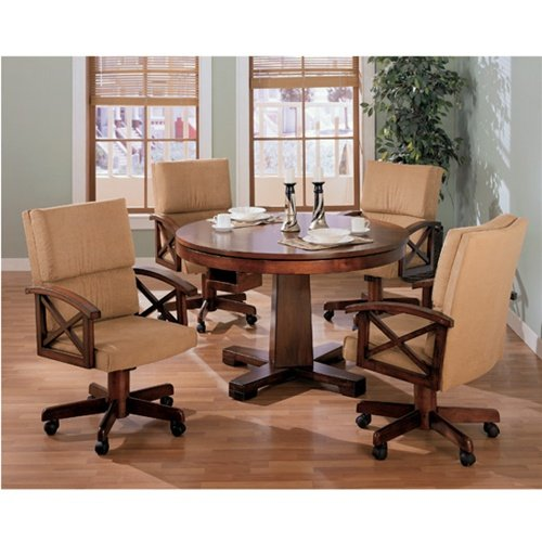 Three In One Oak Bumper/Poker/Dining 5 Piece Table Set (table, 4 arm chairs,pool sticks & balls)- -