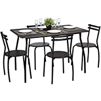 Lillyarn 5Pcs Dining Set Breakfast Table and Chairs Set Metal Dinette Set Kitchen Furniture for 4 Person