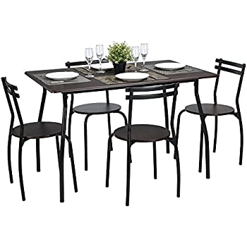 Amazon Com Vecelo Dining Table With 4 Chairs Silver