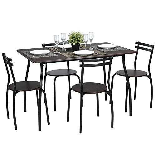 Lillyarn 5Pcs Dining Set Breakfast Table and Chairs Set Metal Dinette Set Kitchen Furniture for 4 Person (Set Breakfast Round Table)