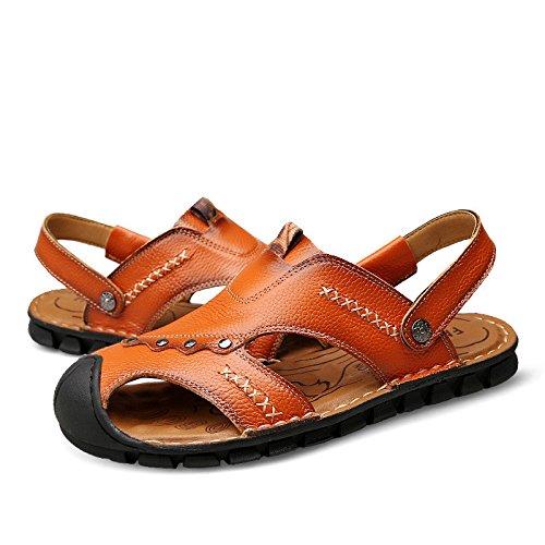 Sandali di estate nuovi modelli Uomini Cowhide Sole molle Leisurely Beach shoes Due sandali da indossare, Giallo, UK = 6, EU = 39