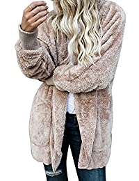 Zilcremo Womens Casual Jackets Tops Furry Cardigan Hooded Jacket Outercoat