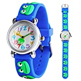 Kids Watch Boys Girls 3D Cute Cartoon Blue Frog Silicone Quartz Wrist Watches Children Time Teacher Learning Gift for Little Children Ages 3-12