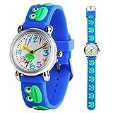 Kids Watch Boys Girls 3D Cute Cartoon Blue Frog Silicone Quartz Wrist Watches Children Time Teacher Learning Gift for Little Children Ages 3-12
