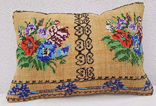 - Needlepoint Tapestry Aubusson Woven Kilim Rug Pillow, Modern Farmhouse Decor, Unique Traditional Floral Kilim Pillow Cushion Case, Turkish Lumbar Kelim Pillow Cover 16'' X 24'' (40 x 60 Cm)