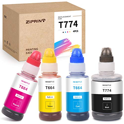 ZIPRINT Compatible Ink Bottle Replacement for Epson 774 664 T664 use for Expression ET-4550 ET-2650 ET-2550 ET-4500 ET-2500 ET-2600 ET-16500 Printer (Black, Yellow, Cyan, Magenta, 4-Pack)