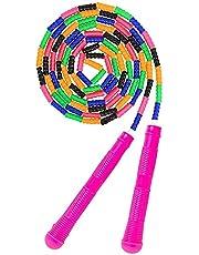 AlfaView Zacht kralen springtouw, verstelbaar segment zonder knopen springtouw voor kinderen Volwassenen Fitness springtouw met antislipgreep en draagtas voor training, fit blijven