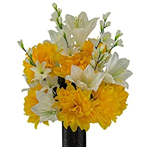 Lily with Gold Dahlia, featuring the Stay-In-The-Vase Design(C) Flower Holder (MD2194) 75