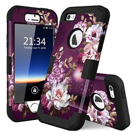 iPhone 5s Case, iPhone SE Case, Hocase Heavy Duty Shockproof Protection Hard Plastic+Silicone Rubber Bumper Dual Layer Full-Body Protective Phone Case for iPhone SE/5s/5 - Royal Purple/White Flowers