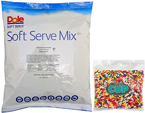 Dole Soft Serve Mix - Lime Dole Whip, Lactose-Free Soft Serve Ice Cream Mix, 4.40 Pound Bag - with By The Cup Rainbow Sprinkles by By The Cup