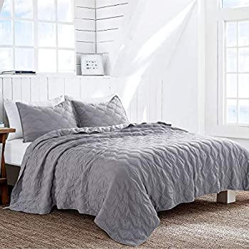 HeyDreamy Puckered Diamond 3-Piece Quilt Set, Pre-Washed, Soft & Quilted Comforter (Gray, King)