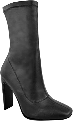 Womens Ladies High Block Heel Stretchy Lycra Fashion Ankle Boots Shoes Size