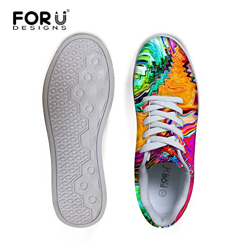 For U Design Tilfeldige Menns Graffiti Malow Toppen Komfortabel Skateboard Sko Lisse-up Sneaker Multi 1