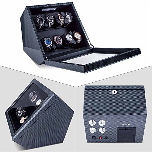 Watch-Winder-Piano-Finish-Carbon-Fiber-Exterior-And-Soft-Flexible-WatchPillows-Eight-Winding-Spaces80-With-Built-in-Illumination-Wooden-Shell-WithOpen-Shut-Off-Function
