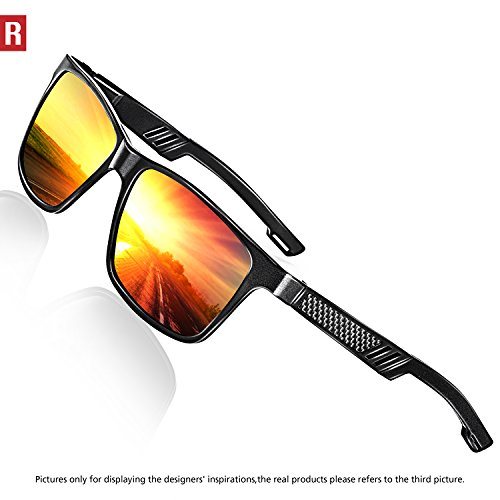 Rocknight Polarized UV Protection Men's Sunglasses Wayfarer Full Frame Red Lens Sunglasses Mirror Outdoor Fashion Style by ROCKNIGHT