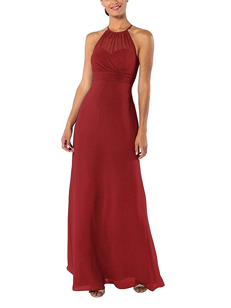 Dark Red YnanLi Dress ALine Halter Neck Bridesmaid Dresses Long Wedding Party Evening Gown