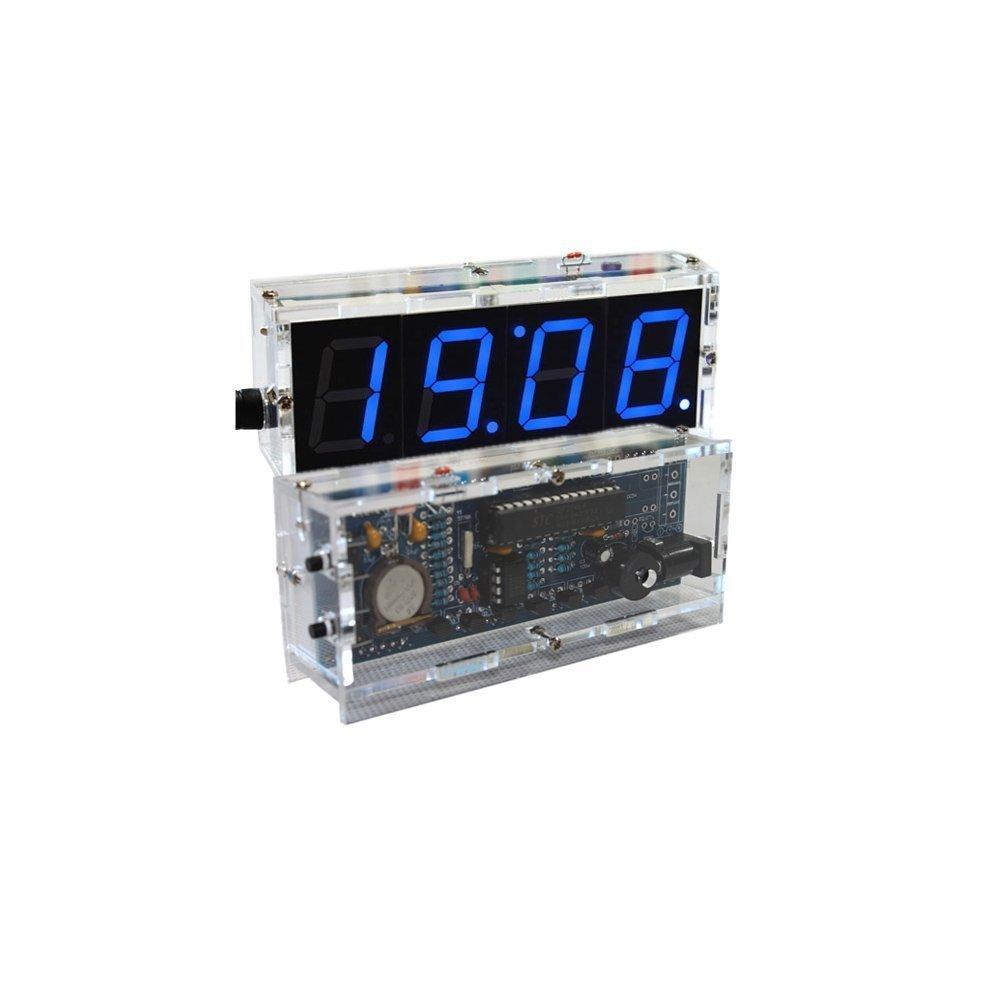 4-digit DIY Digital LED Clock Kit Light Control Temperature Display Transparent Case Red Unbekannt