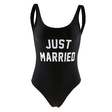 849eb96b79 Homyl Fashion Women s One-Piece Swimsuit Just Married Beachwear Monokini Swimwear  Bride Honeymoon Gift at Amazon Women s Clothing store