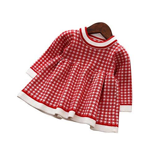 d8707591c7bd8 Mornyray ベビー服 ワンピース ドレス ニット 長袖 チェック柄 子供服 暖か 厚手 おしゃれ 女の子 幼児 0