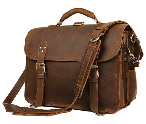 "Polare Leather Messenger Bag Casual Designer Travel Briefcase Fits 16.5"" Laptop by Polare"
