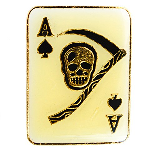 (Sujak Military Items Ace of Spades Death Skull Card Hat or Lapel Pin AK837)