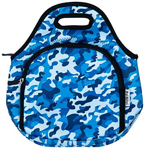 ITZI BITZI Camouflage Lunch Bag for Kids Men Women, Neoprene Insulated Lunch Box Tote, Reusable and Machine Washable with Double Zipper Pockets - Camo Blue Doubles Kit Blue Camo