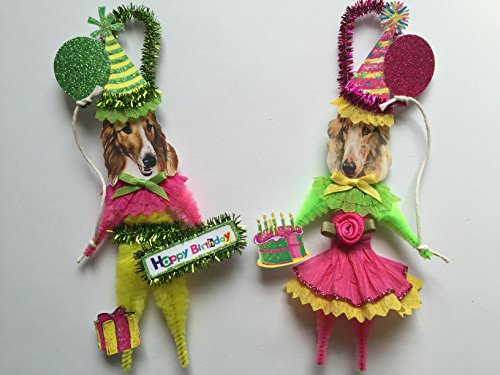 Borzoi BIRTHDAY ORNAMENTS Vintage Style Chenille Ornaments Set of 2