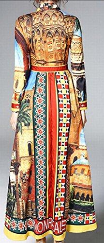 Larga Vestido De 1 La Bowknot Estampado Maxi Jaycargogo De De Mujeres Manga Moda Las zUxqdEnaw