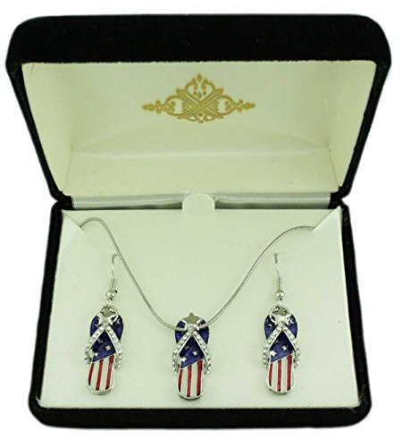 Lilylin Designs Patriotic Flip Flop Necklace and Earring Boxed Gift Set (Red White And Blue Crystal Flip Flops)