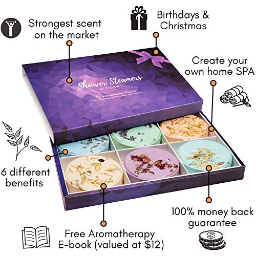 Cleverfy Aromatherapy Shower Steamers – Variety Pack of 6 Shower Bombs with Essential Oils. Purple Set: Lavender…