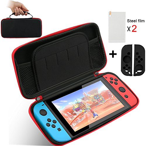 Carry Case for Nintendo Switch with Tempered Glass Screen Protector + Silicone Joy-con Gel Guards Travel Carrying Case Shell Pouch for Nintendo Switch Console - Glasses Popular