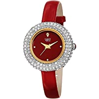 Burgi Women's BUR195 Swarovski Crystal & Diamond Accented Watch - Comfortable Leather Strap In A Gift Box (Rose Gold & Red)