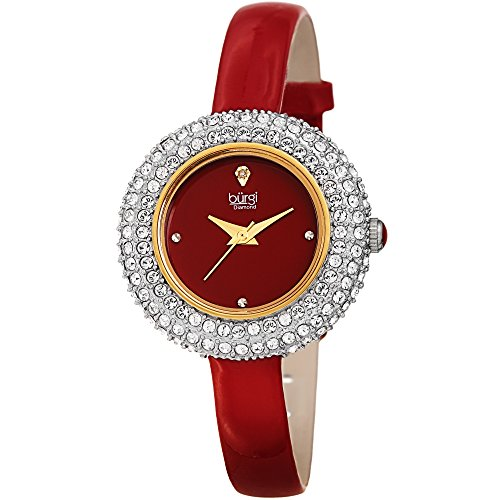 Crystal Red Strap Watch (Burgi Women's BUR195 Swarovski Crystal & Diamond Accented Watch - Comfortable Leather Strap In A Gift Box (Rose Gold & Red))
