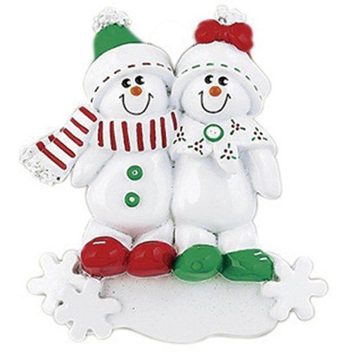 Personalized Snowman Sled Family of 2 Christmas Ornament for Tree 2018 - Couple Sibling Friend in Green Winter Hat Red Bow Hug on Snow-Flakes - Cute 1st Holiday Tradition - Free Customization (Two)