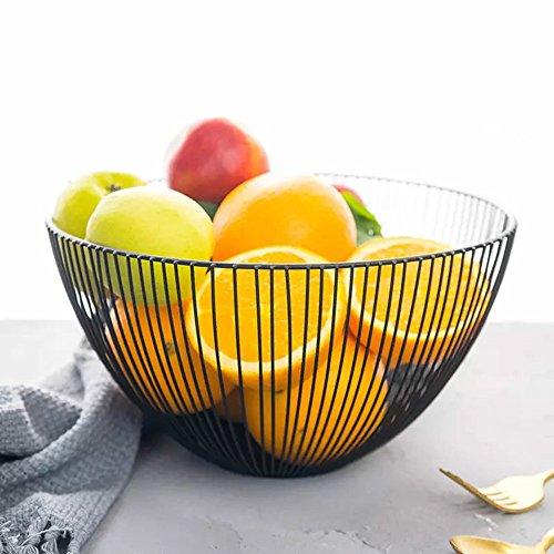 Wire Fruit Basket, Round Black Metal Fruit Vegetable Storage Bowl, Egg Basket Holder Stand for Kitchen Counter, Cabinet and Pantry - (Red Square Vegetable Bowl)