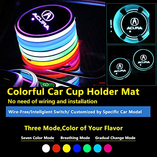 2pcs Colorful LED Coaster Lighting USB Charging Light Accessories Interior Decoration Lights Mouldings Trim Lamp for 2018 2017 2016 2015 Acura tl mdx Integra tsx RDX cdx TLX-l ILX TLX zdx RLX NSX rl