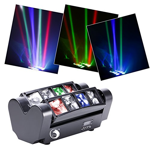 U`King Moving Head Stage Light DJ Spider Light LED 8x10W RGBW 4 Color LED Light Disco DMX512 Portable DJ Disco LED Stage Light For KTV Parties Indoor Bar Club
